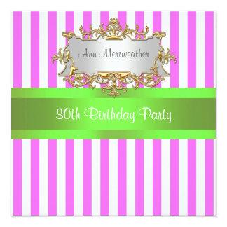 Pink White Stripe Lime Ribbon Birthday Party Invit Card