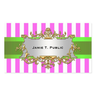 Pink White Stripe, Lime Ribbon, Gold Framed Label Business Card Template