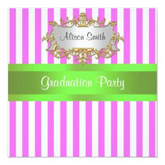 Pink White Stripe Lime Ribbon Graduation Invite