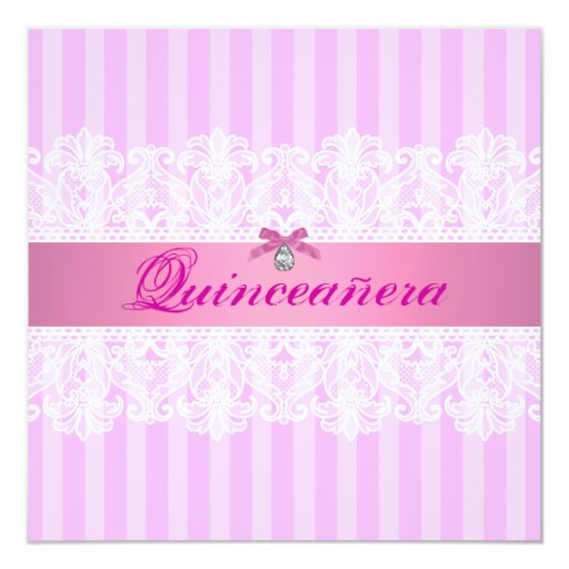Pink & White Stripe Quinceanera Birthday Invite