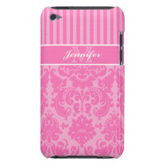 Pink, White Striped Damask Ipod Touch Case at Zazzle