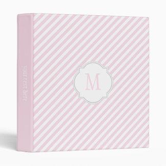 Pink & White Striped Pattern Binder