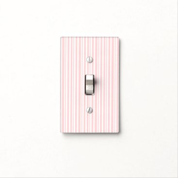Beach Themed Pink & White Striped Pattern Modern Chic Light Switch Cover