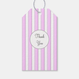 Pink White Stripes Custom Thank You Tag Pack Of Gift Tags