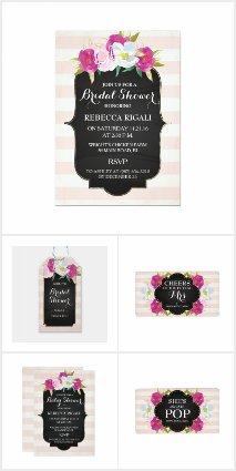 Pink & White Stripes Floral Invitation Set