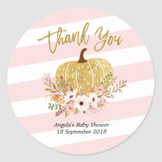 Pink White Stripes Gold Pumpkin Thank You Sticker