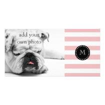Pink White Stripes Pattern, Black Monogram Card