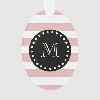 Pink White Stripes Pattern, Black Monogram Ornament