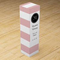 Pink White Stripes Pattern, Black Monogram Wine Box