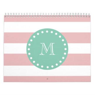 Pink White Stripes Pattern Mint Green Monogram Wall Calendar