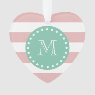 Pink White Stripes Pattern, Mint Green Monogram Ornament