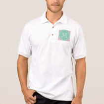 Pink White Stripes Pattern, Mint Green Monogram Polo Shirt