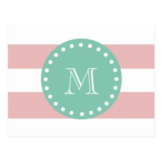 Pink White Stripes Pattern, Mint Green Monogram Postcard