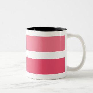 Pink White Stripes Pattern Two-Tone Coffee Mug