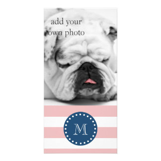 Pink White Stripes Pattern, Navy Blue Monogram Card
