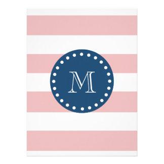 Pink White Stripes Pattern Navy Blue Monogram Announcement
