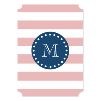 Pink White Stripes Pattern, Navy Blue Monogram 5x7 Paper Invitation Card