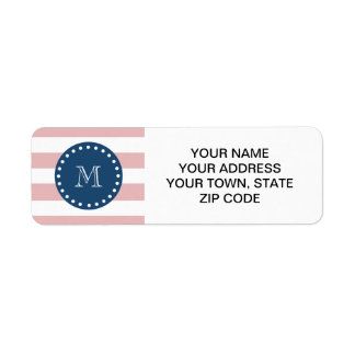 Pink White Stripes Pattern, Navy Blue Monogram Label