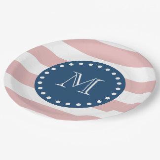 Pink White Stripes Pattern, Navy Blue Monogram Paper Plate