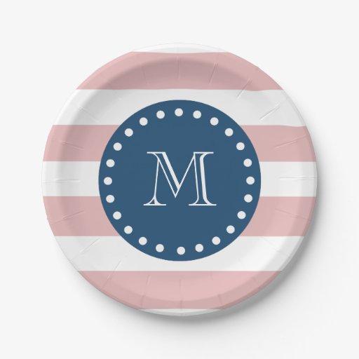 pink white stripes pattern navy blue monogram 7 inch paper plate zazzle. Black Bedroom Furniture Sets. Home Design Ideas