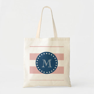 Pink White Stripes Pattern, Navy Blue Monogram Tote Bag