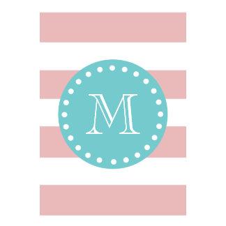 Pink White Stripes Pattern Teal Monogram Wall Calendars