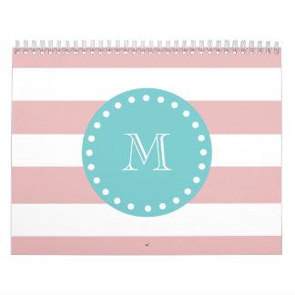 Pink White Stripes Pattern, Teal Monogram Calendar