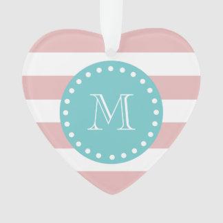 Pink White Stripes Pattern, Teal Monogram Ornament