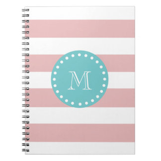 Pink White Stripes Pattern, Teal Monogram Spiral Notebook