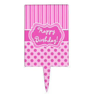 Pink, White Stripes, Polka Dots Happy Birthday! Cake Topper