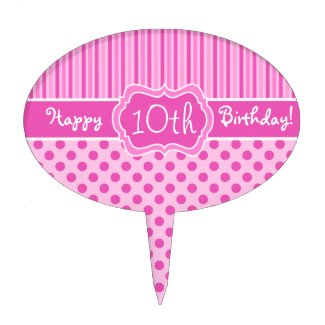 Pink, White Stripes, Polka Dots Happy Birthday! Cake Toppers