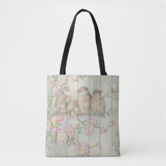 Pink White teal tote bag Pretty  bird