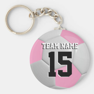 Pink & White Team Soccer Ball Keychain