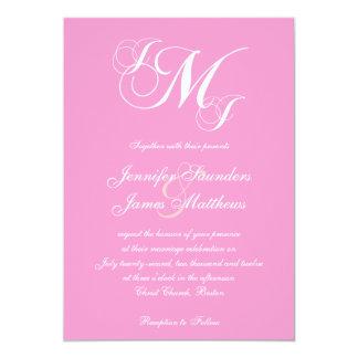 Pink White Three Letter Wedding Invitations