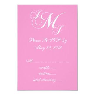 Pink White Three Letter Wedding RSVP Cards