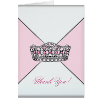 Pink White Tiara Princess Thank You Card