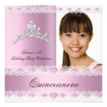 Pink White Tiara Quinceanera 15 Birthday Party Personalized Announcements