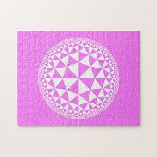Pink & White Triangle Filled Mandala Jigsaw Puzzle