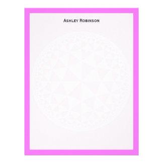 Pink & White Triangle Filled Mandala Letterhead