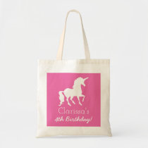 Pink White Unicorn Personalized Girls Birthday Tote Bag