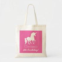 Pink White Unicorn Personalized Girls Birthday Tote Bag