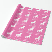 Pink White Unicorn Personalized Girls Birthday Wrapping Paper