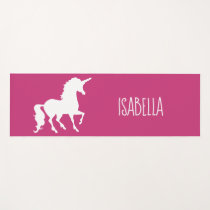 Pink White Unicorn Silhouette Personalized Girls Yoga Mat