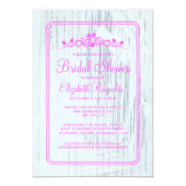 Pink White Vintage Barn Wood Bridal Shower Invites