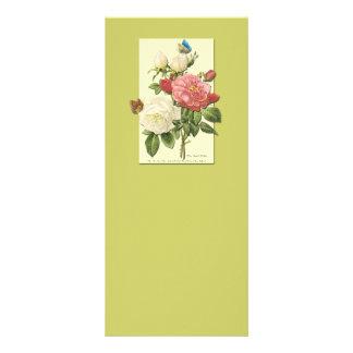 Pink White Vintage Botanical Roses Rack Card