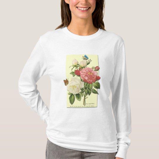 Pink White Vintage Botanical Roses T-Shirt