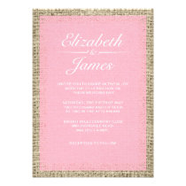 Pink & White Vintage Burlap Wedding Invitations Personalized Invite