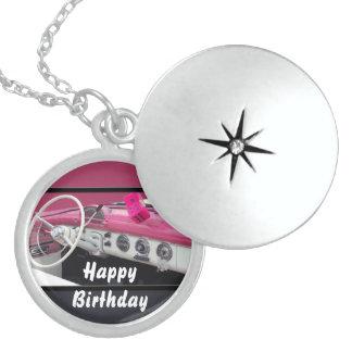 Pink & White Vintage Car Birthday Bash Locket Necklace