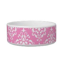 Pink White Vintage Damask Pattern 1 Bowl