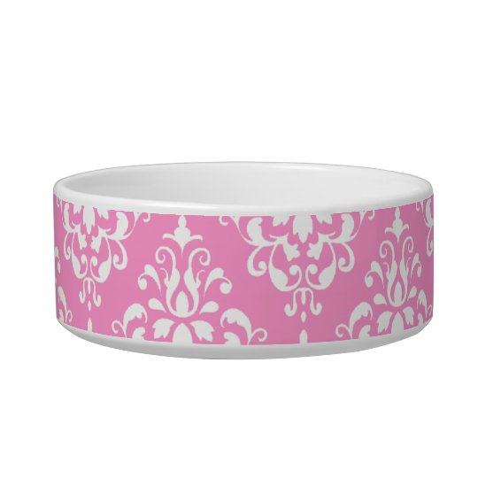 Pink White Vintage Damask Pattern 1 Bowl